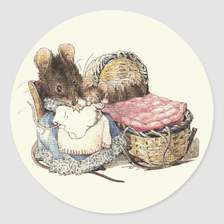 Mother Dormouse and Her Child Round Sticker