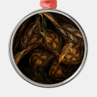 Mother Earth Abstract Art Round Metal Ornament