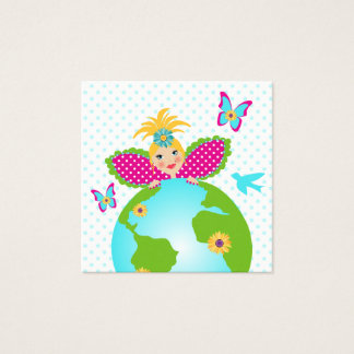 Mother Earth Fairy World Globe Travel Business Car Square Business Card