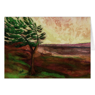 Mother Earth Pine tree Landscape painting art card