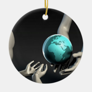 Mother Earth Providing To Her Children as Concept Round Ceramic Ornament