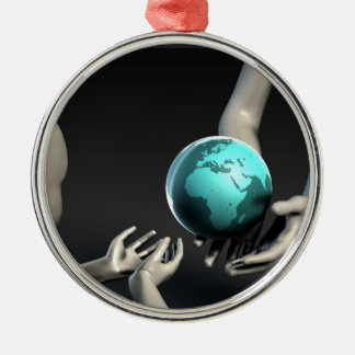 Mother Earth Providing To Her Children as Concept Silver-Colored Round Ornament