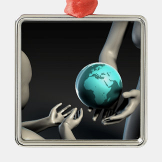 Mother Earth Providing To Her Children as Concept Silver-Colored Square Ornament