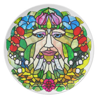 Mother Earth Stained Glass Art Nouveau Plate