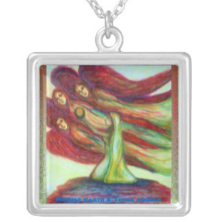 Mother Earth & Three Angels Silver Plated Necklace