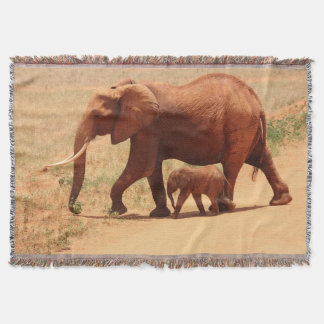 Mother Elephant and Baby Throw Blanket