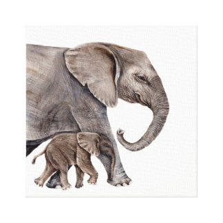 Mother Elephant with Baby Elephant Canvas