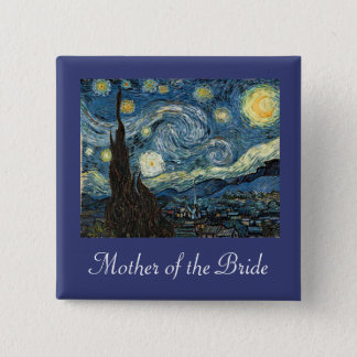 Mother/father of the bride/groom Starry Night 2 Inch Square Button