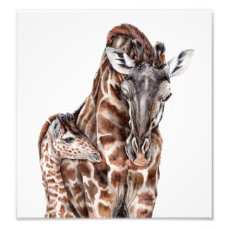 Mother Giraffe with Baby Giraffe Art Print Photographic Print
