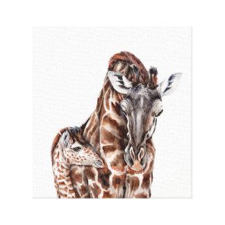 Mother Giraffe with Baby Giraffe Canvas