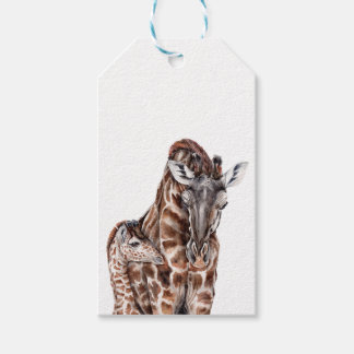 Mother Giraffe with Baby Giraffe Gift Tags