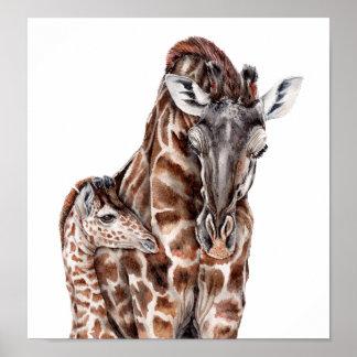 Mother Giraffe with Baby Giraffe Poster
