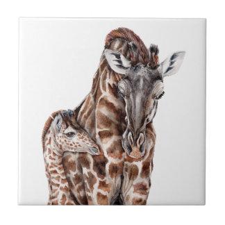 Mother Giraffe with Baby Giraffe Tile