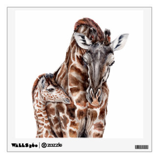 Mother Giraffe with Baby Giraffe Wall Sticker