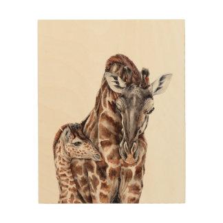 Mother Giraffe with Baby Giraffe Wood Prints