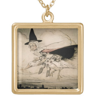 Mother Goose, frontispiece of 'Mother Goose The Ol Gold Plated Necklace