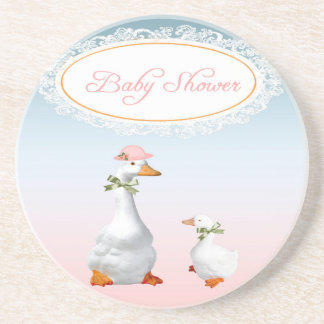 Mother Goose wearing Bonnet & Glasses with Baby Drink Coasters