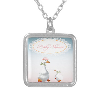 Mother Goose wearing Bonnet & Glasses with Baby Silver Plated Necklace