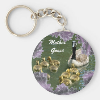 Mother Goose with Goslings keychain