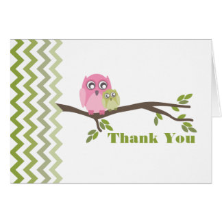 Mother & Green Baby Owl Thank You Zigzag Stationery Note Card