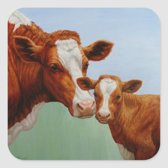 Mother Guernsey Cow and Cute Calf Square Sticker