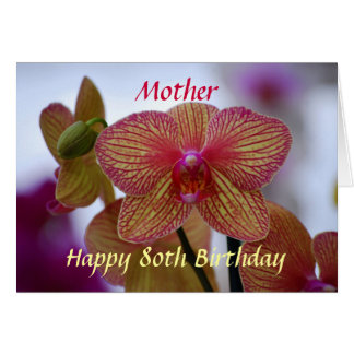 Mother Happy 80th Birthday Phalaenopsis Orchid Card