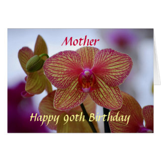 Mother Happy 90th Birthday Striped Orchid Card