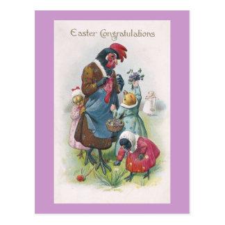Mother Hen and Chicks Vintage Easter Postcard