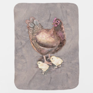 Mother Hen and Chicks Watercolor Baby Blanket