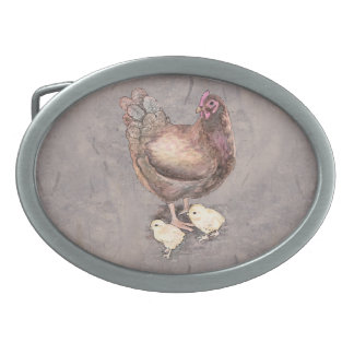 Mother Hen and Chicks Watercolor Belt Buckles