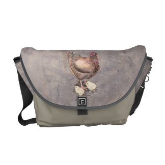 Mother Hen and Chicks Watercolor Commuter Bag
