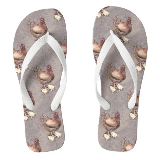 Mother Hen and Chicks Watercolor Flip Flops