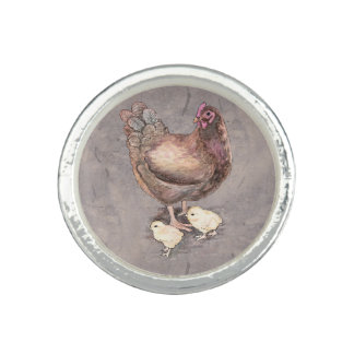Mother Hen and Chicks Watercolor Photo Ring