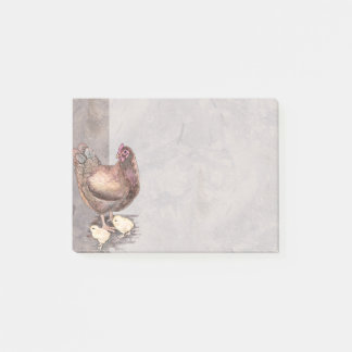 Mother Hen and Chicks Watercolor Post-it Notes