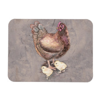 Mother Hen and Chicks Watercolor Rectangular Photo Magnet