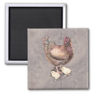 Mother Hen and Chicks Watercolor Square Magnet