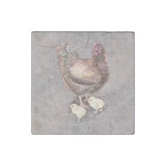 Mother Hen and Chicks Watercolor Stone Magnets