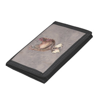 Mother Hen and Chicks Watercolor Trifold Wallet