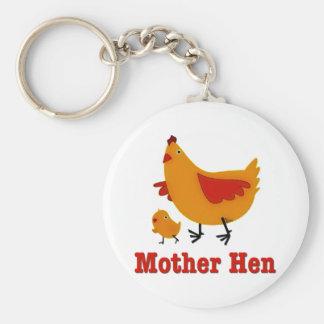 Mother Hen Basic Round Button Keychain