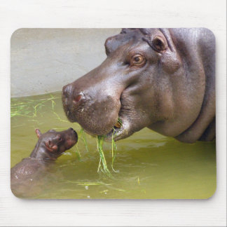 Mother Hippo with Baby Mouse Pad