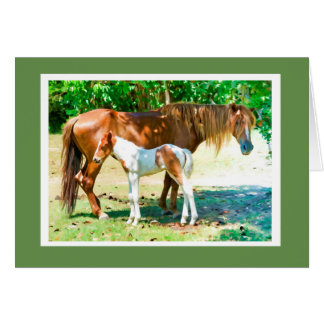 Mother Horse foal Animal Blank Card