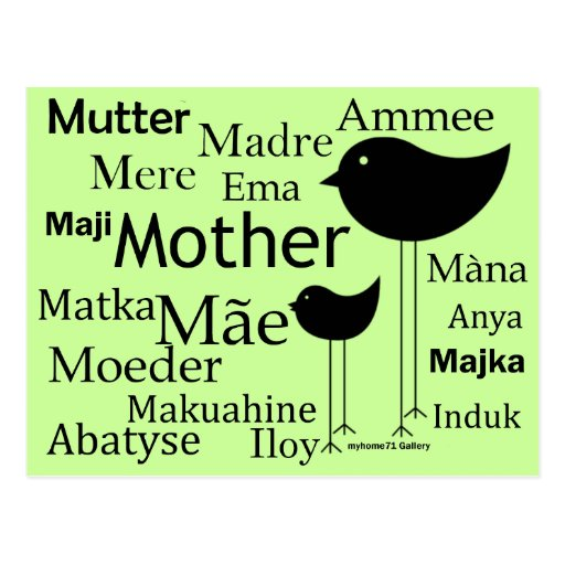 Mother in different languages post card