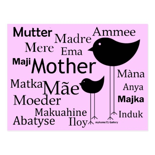 Mother in different languages postcards