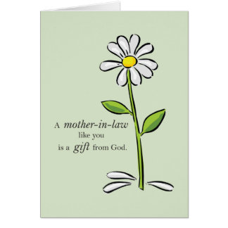 Mother-in-Law Day Religious Green Daisy Flower App Card