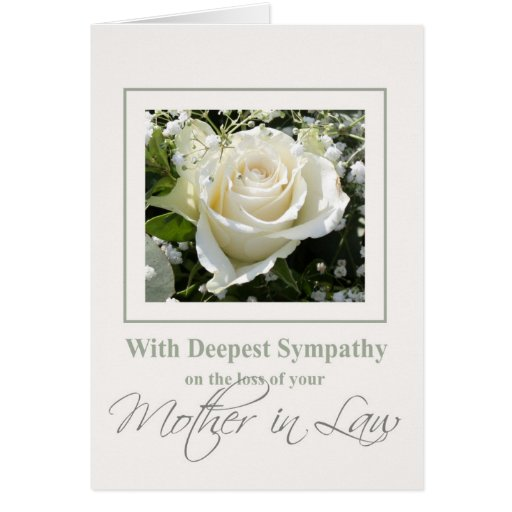 Mother in Law  loss Rose sympathy Card