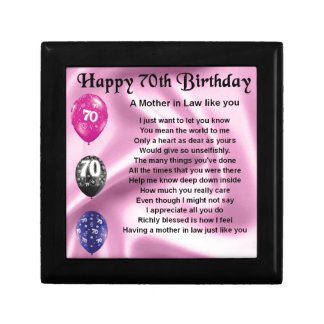 Mother in Law Poem - 70th Birthday Gift Box