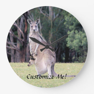 Mother Kangaroo with Baby Joey in Her Pouch Large Clock