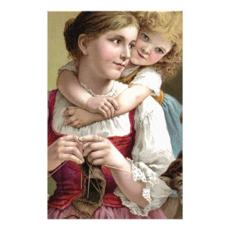Mother Knitting with her Daughter Personalized Stationery