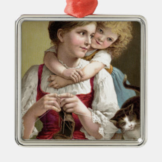 Mother Knitting with her Daughter Silver-Colored Square Ornament