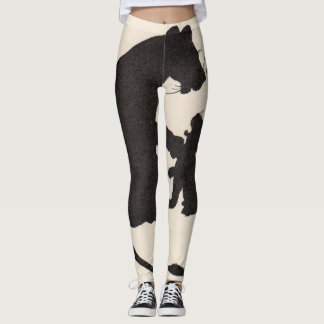 mother lion and cub silhouette leggings